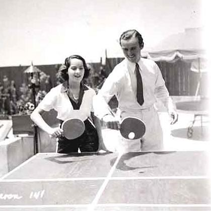 With Boyfriend David Niven, Courtesy ITTF Museum